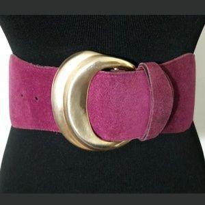 Express Magenta Leather/Suede Wide Belt Sz Medium